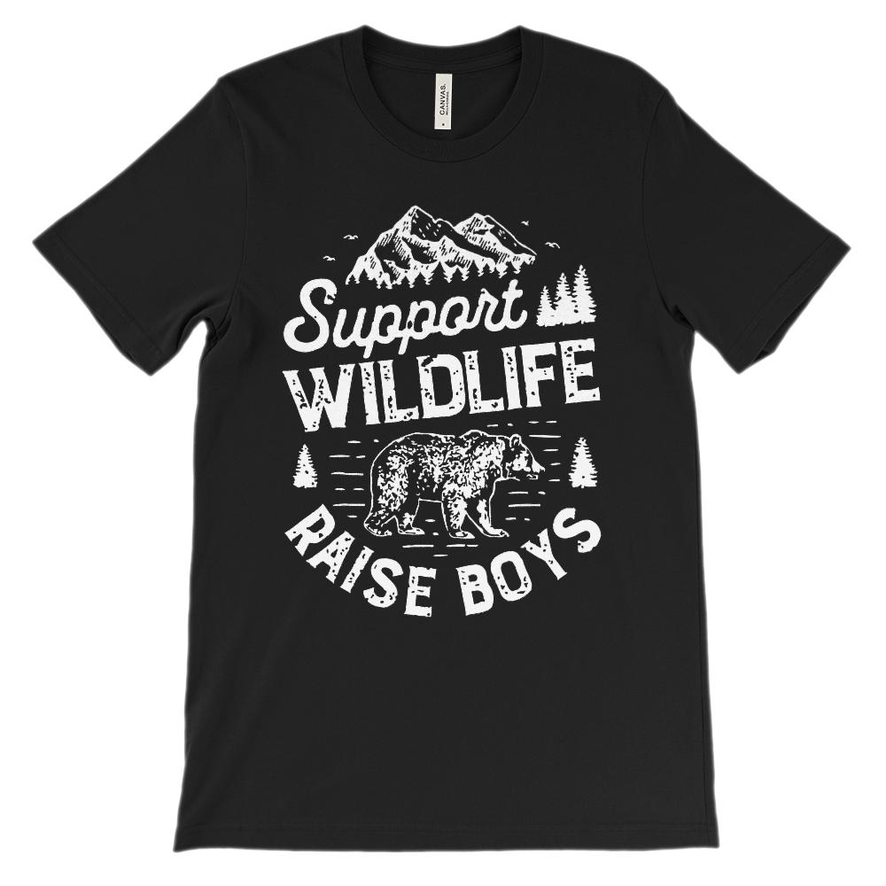 (Soft BC 3001 Unisex) Support Wildlife Raise Boys (white)