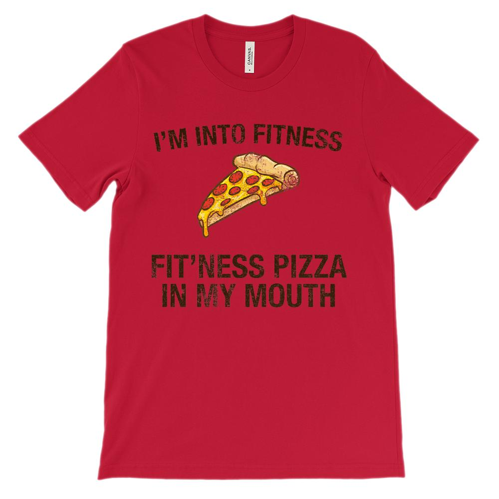 (Soft BC 3001 Unisex Tee) I'm Into Fitness Fit'ness Pizza in my Mouth Graphic T-Shirt Tee BOXELS