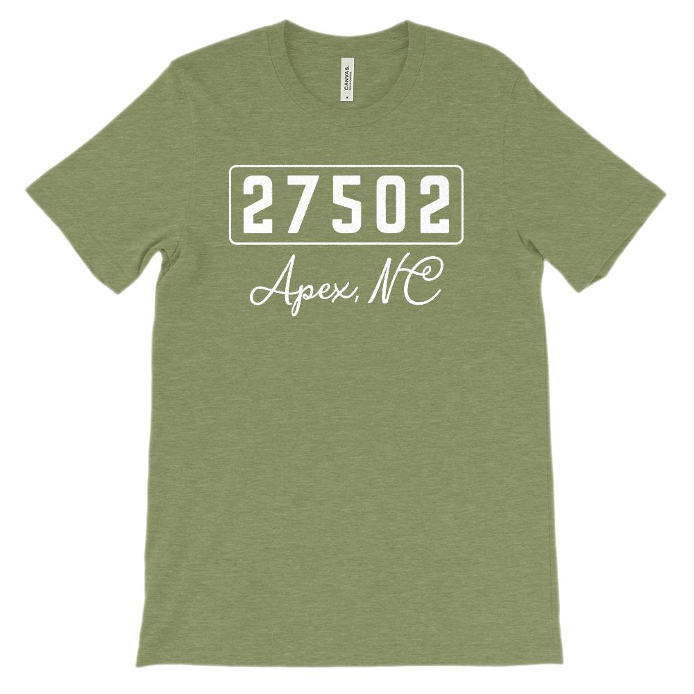 (Soft BC 3001 Unisex) Zipcode City State Apex NC 27502 Graphic T-Shirt Tee BOXELS