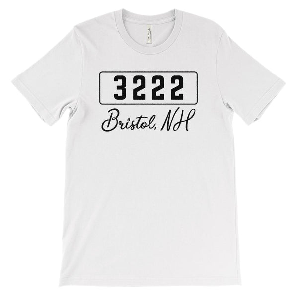 (Soft BC 3001 Unisex) Zipcode City State Bristol, NH, 3222 Graphic T-Shirt Tee BOXELS