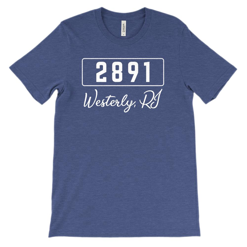 (Soft BC 3001 Unisex) Zipcode City State Westerly RI, 2891 Graphic T-Shirt Tee BOXELS