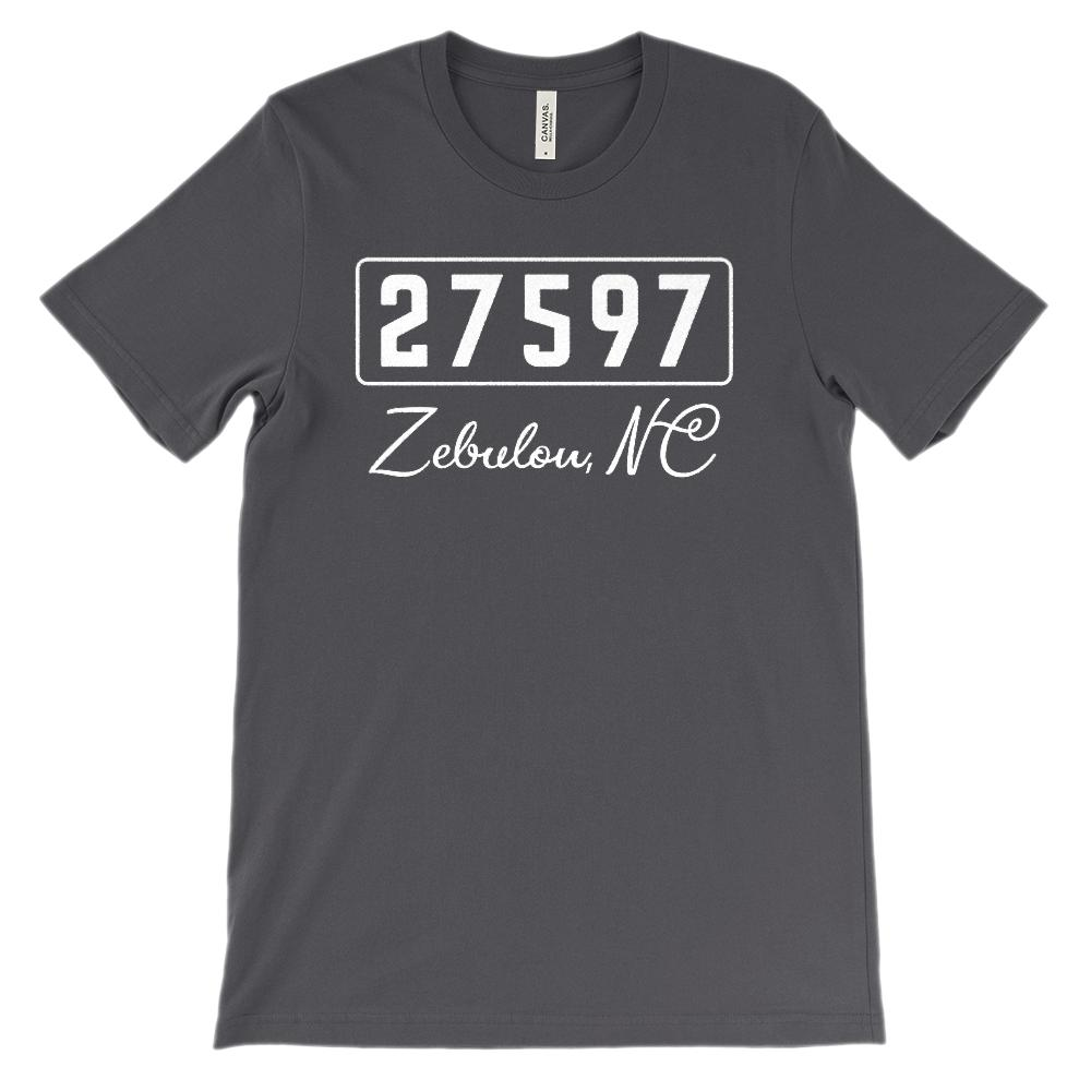 (Soft BC 3001 Unisex) Zipcode City State Zebuon, NC, 27597 Graphic T-Shirt Tee BOXELS
