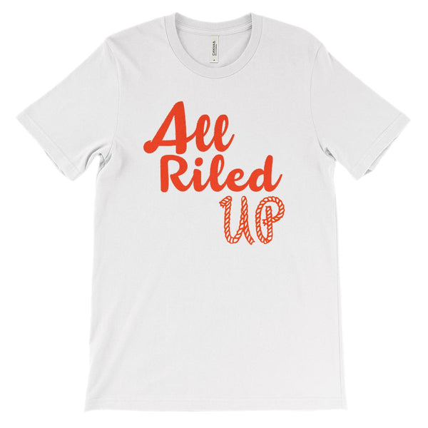 (Soft Unisex BC 3001) All Riled Up Cowboy Cowgirl Rope Graphic T-Shirt Tee BOXELS