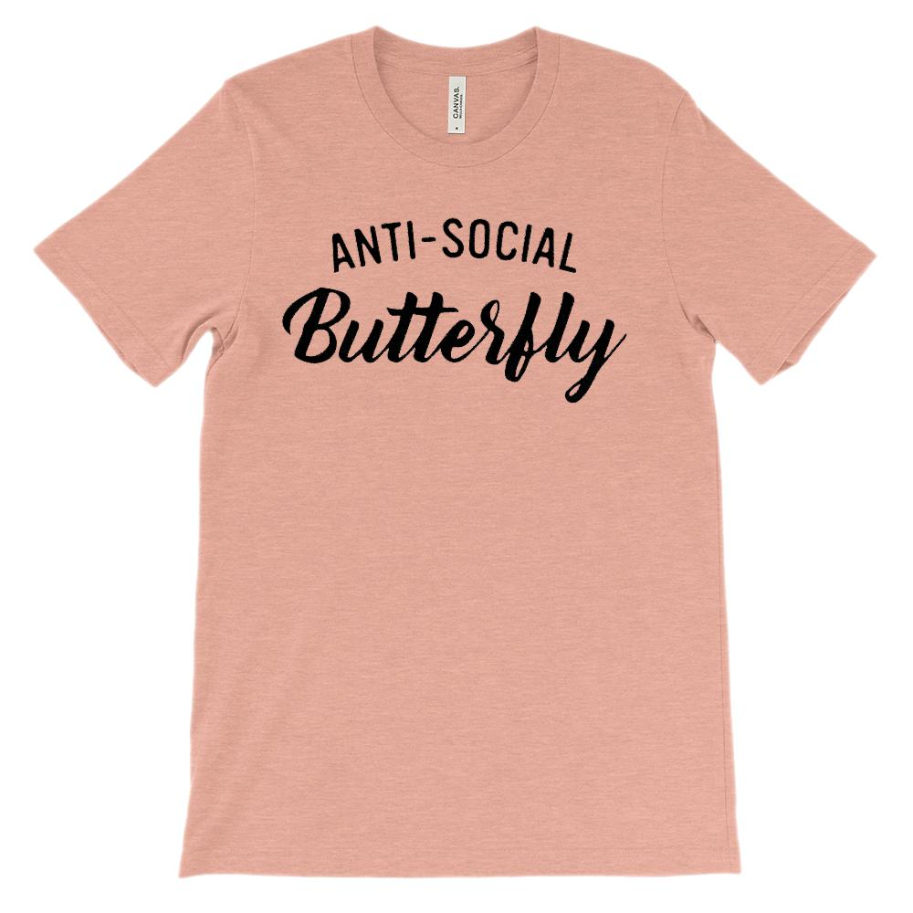 (Soft Unisex BC 3001) Anti-Social Butterfly Graphic T-Shirt Tee BOXELS