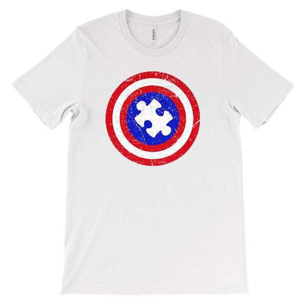 (Soft Unisex BC 3001) Autism Awareness Puzzle Captain Shield Graphic T-Shirt Tee BOXELS