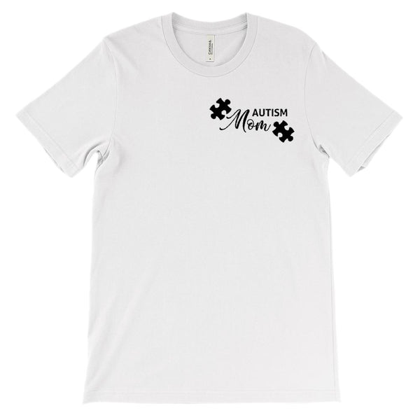 (Soft Unisex BC 3001) Autism Mom Puzzle Corner (black) Graphic T-Shirt Tee BOXELS