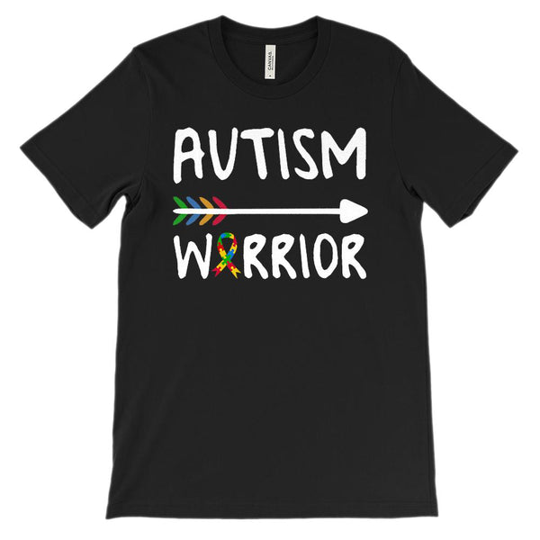 (Soft Unisex BC 3001) Autism Warrior (Autism Awareness) White Graphic T-Shirt Tee BOXELS