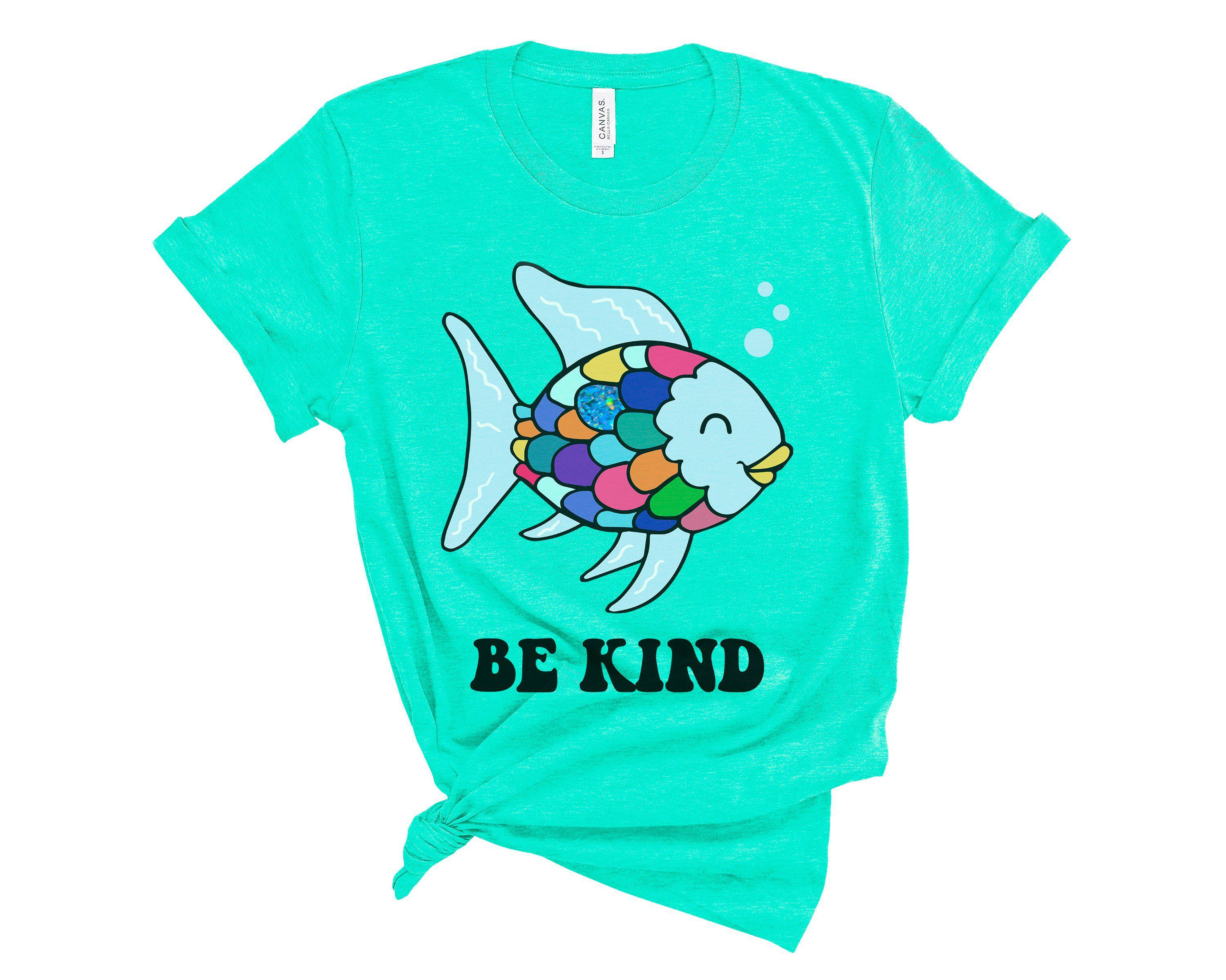 (Soft Unisex BC 3001) Be Kind Rainbow Sparkle Scale Fish Book Parody Graphic T-Shirt Tee BOXELS
