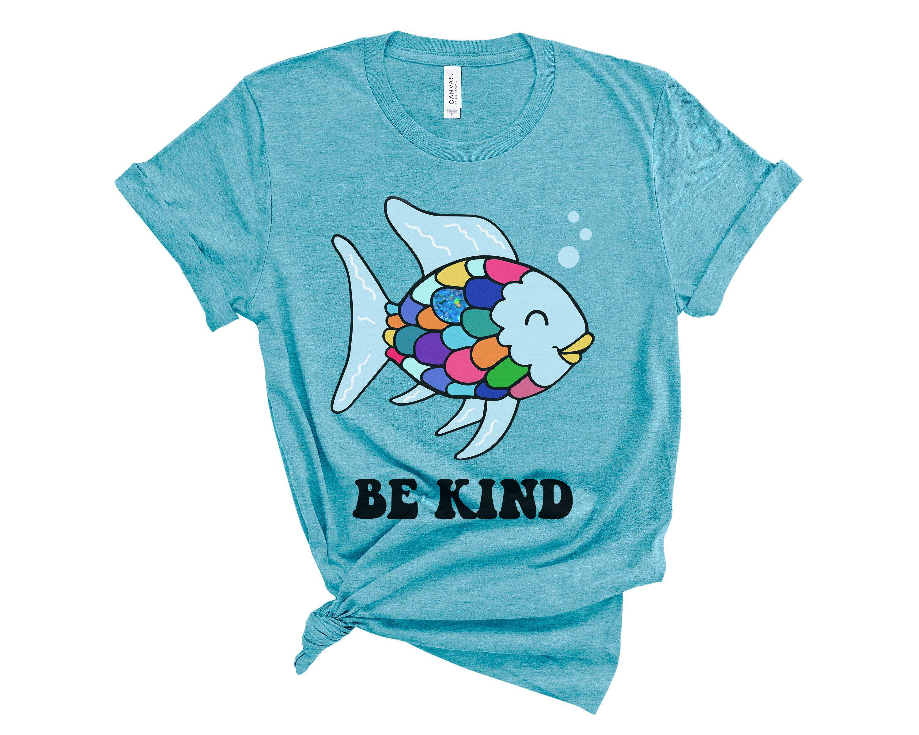 (Soft Unisex BC 3001) Be Kind Rainbow Sparkle Scale Fish Book Parody