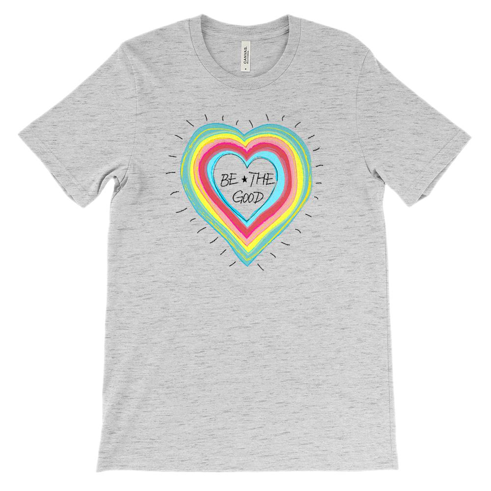 (Soft Unisex BC 3001) Be the Good Rainbow Heart Graphic T-Shirt Tee BOXELS