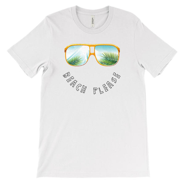 (Soft Unisex BC 3001) Beach Please Sunglasses Graphic T-Shirt Tee BOXELS
