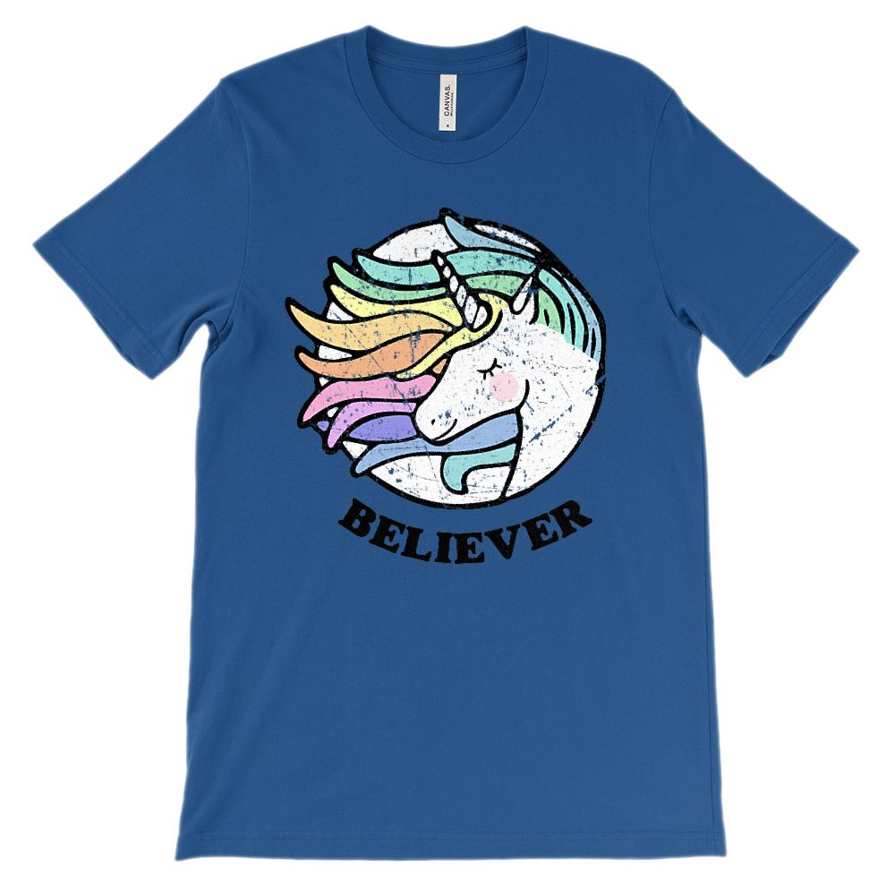 (Soft Unisex BC 3001) Believer Unicorn Rainbow Magic Graphic T-Shirt Tee BOXELS