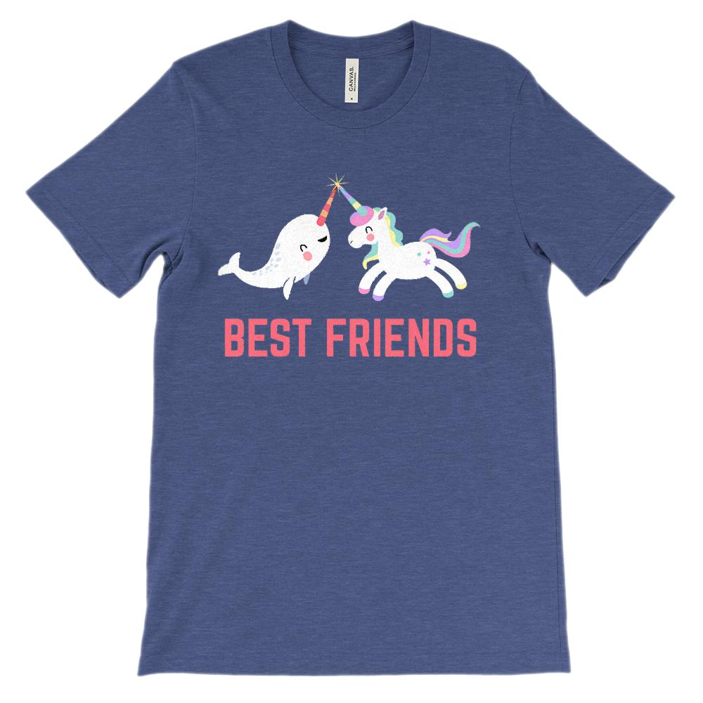 (Soft Unisex BC 3001) Best Friends Narwhal & Unicorn Besties (Fuchsia) Graphic T-Shirt Tee BOXELS