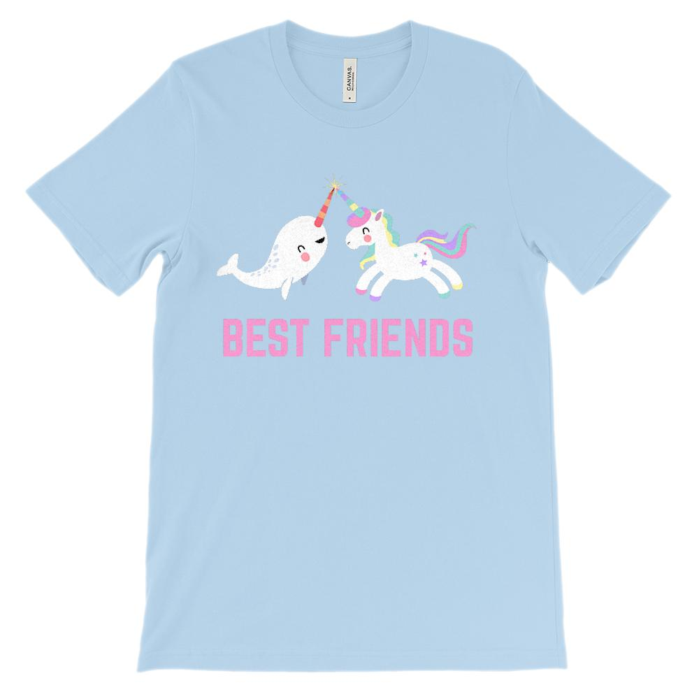 (Soft Unisex BC 3001) Best Friends Narwhal & Unicorn Besties (Pink) Graphic T-Shirt Tee BOXELS