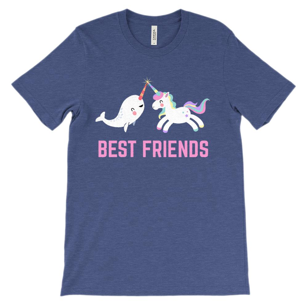 (Soft Unisex BC 3001) Best Friends Narwhal & Unicorn Besties (Pink)