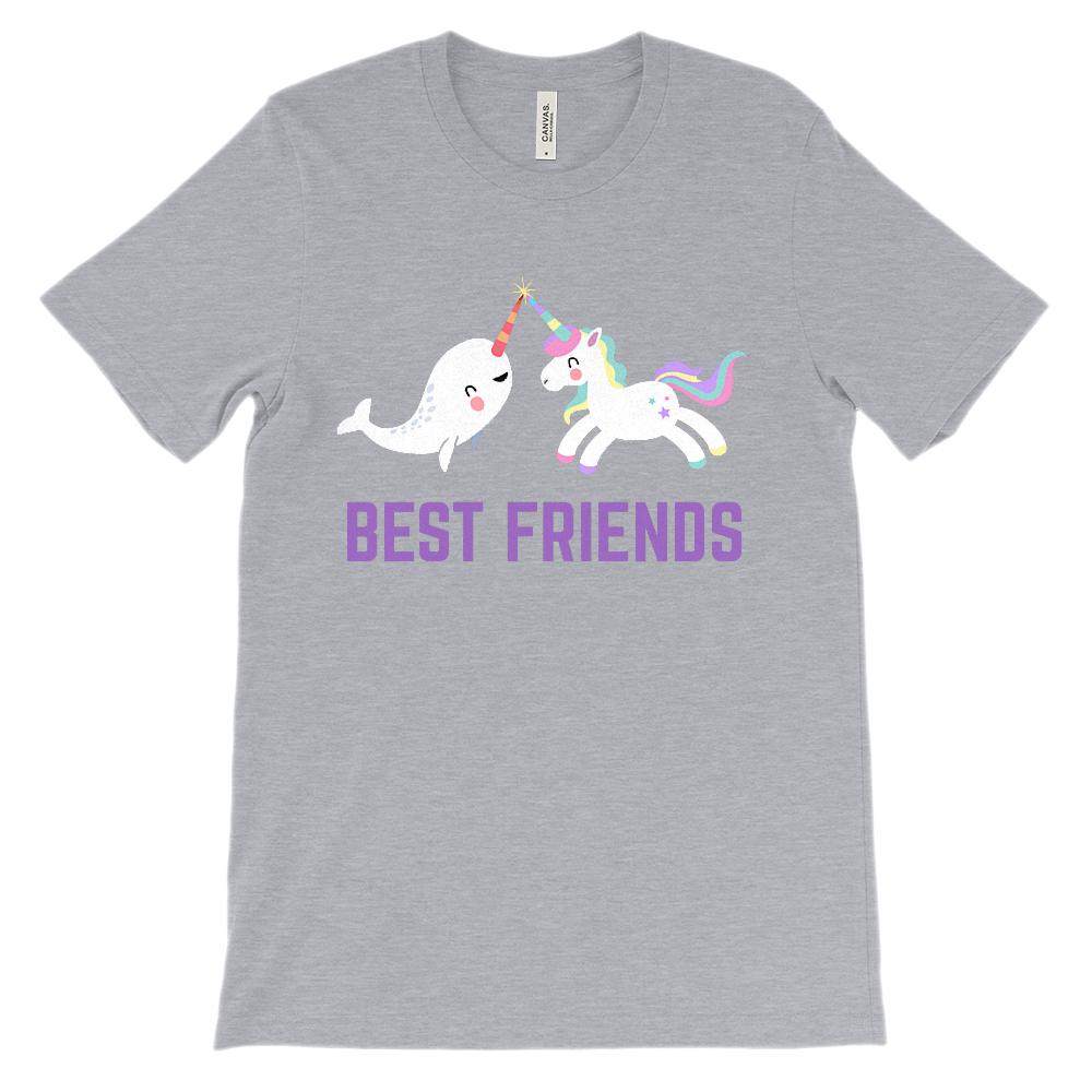 (Soft Unisex BC 3001) Best Friends Narwhal & Unicorn Besties (purple) Graphic T-Shirt Tee BOXELS