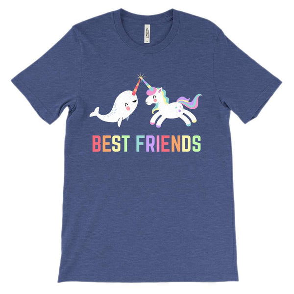 (Soft Unisex BC 3001) Best Friends Narwhal & Unicorn Besties (Rainbow) Graphic T-Shirt Tee BOXELS