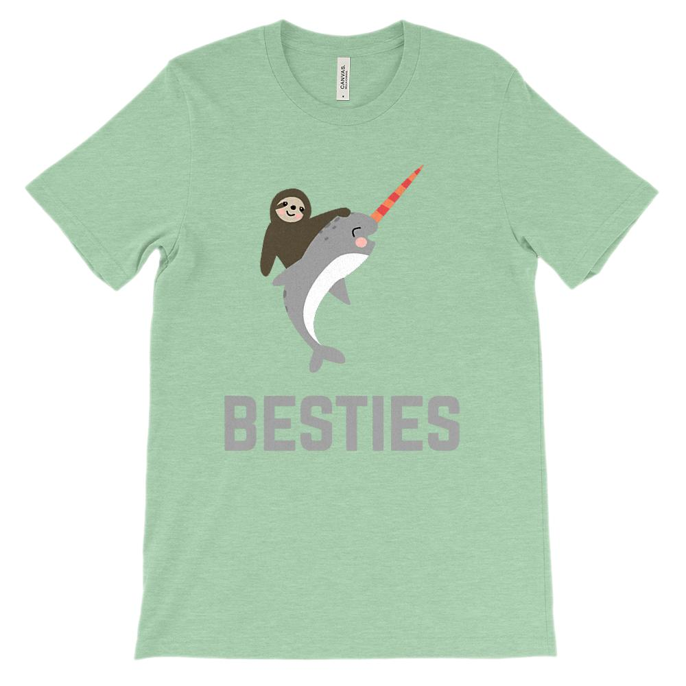 (Soft Unisex BC 3001) Besties Sloth & Narwhal Best Friends (dark Gray) Graphic T-Shirt Tee BOXELS