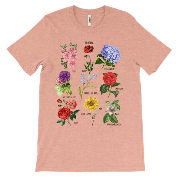 (Soft Unisex BC 3001) Blooms Botanical Flowers (darker font) Graphic T-Shirt Tee BOXELS