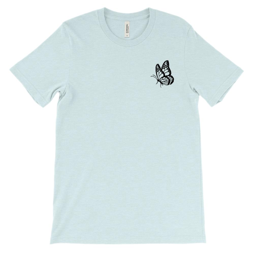 (Soft Unisex BC 3001) Butterfly Corner Pocket Graphic T-Shirt Tee BOXELS