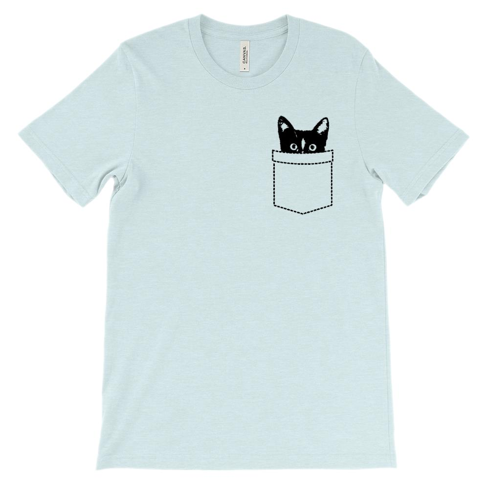 (Soft Unisex BC 3001) Cat Fake pocket Peeking Graphic T-Shirt Tee BOXELS
