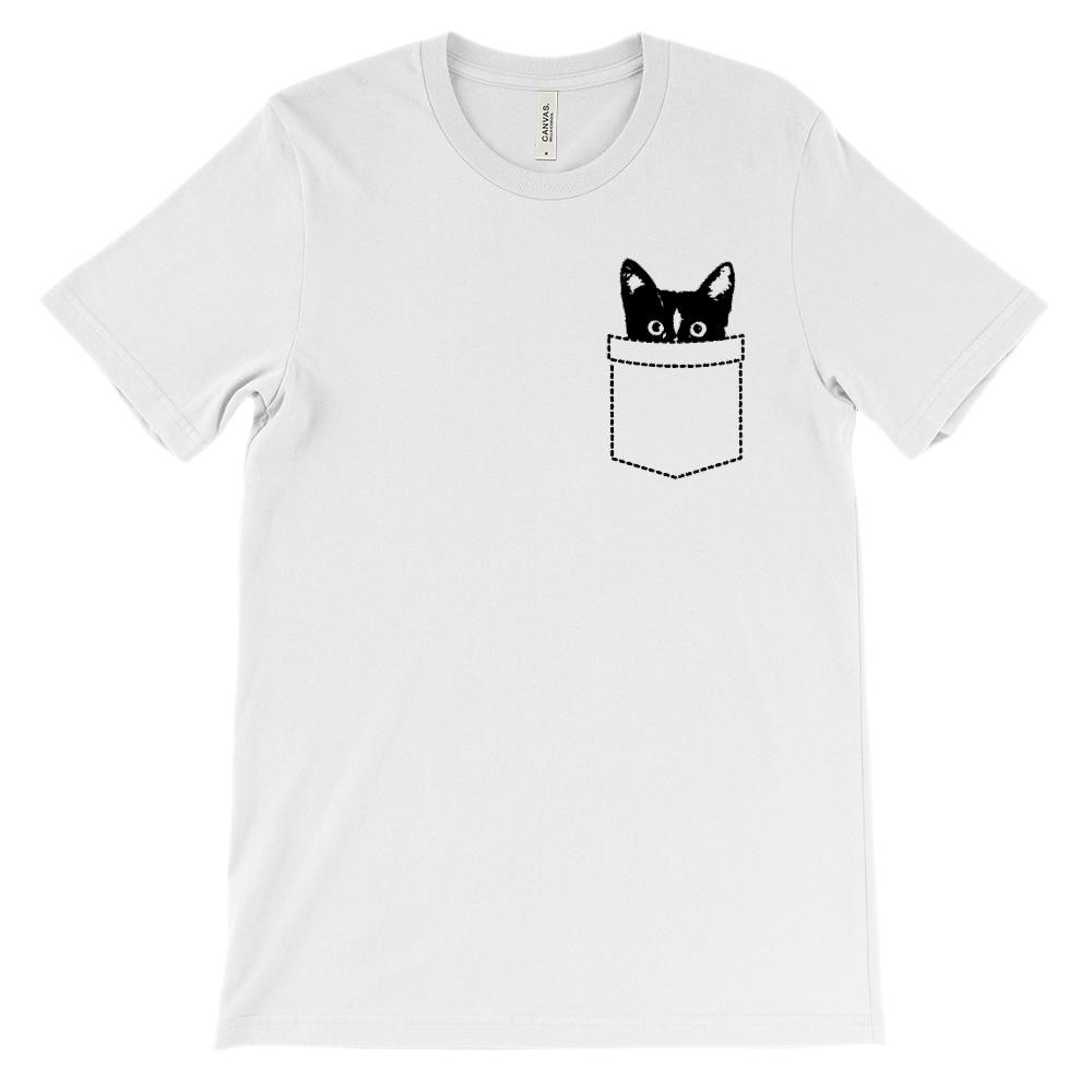 (Soft Unisex BC 3001) Cat Fake pocket Peeking