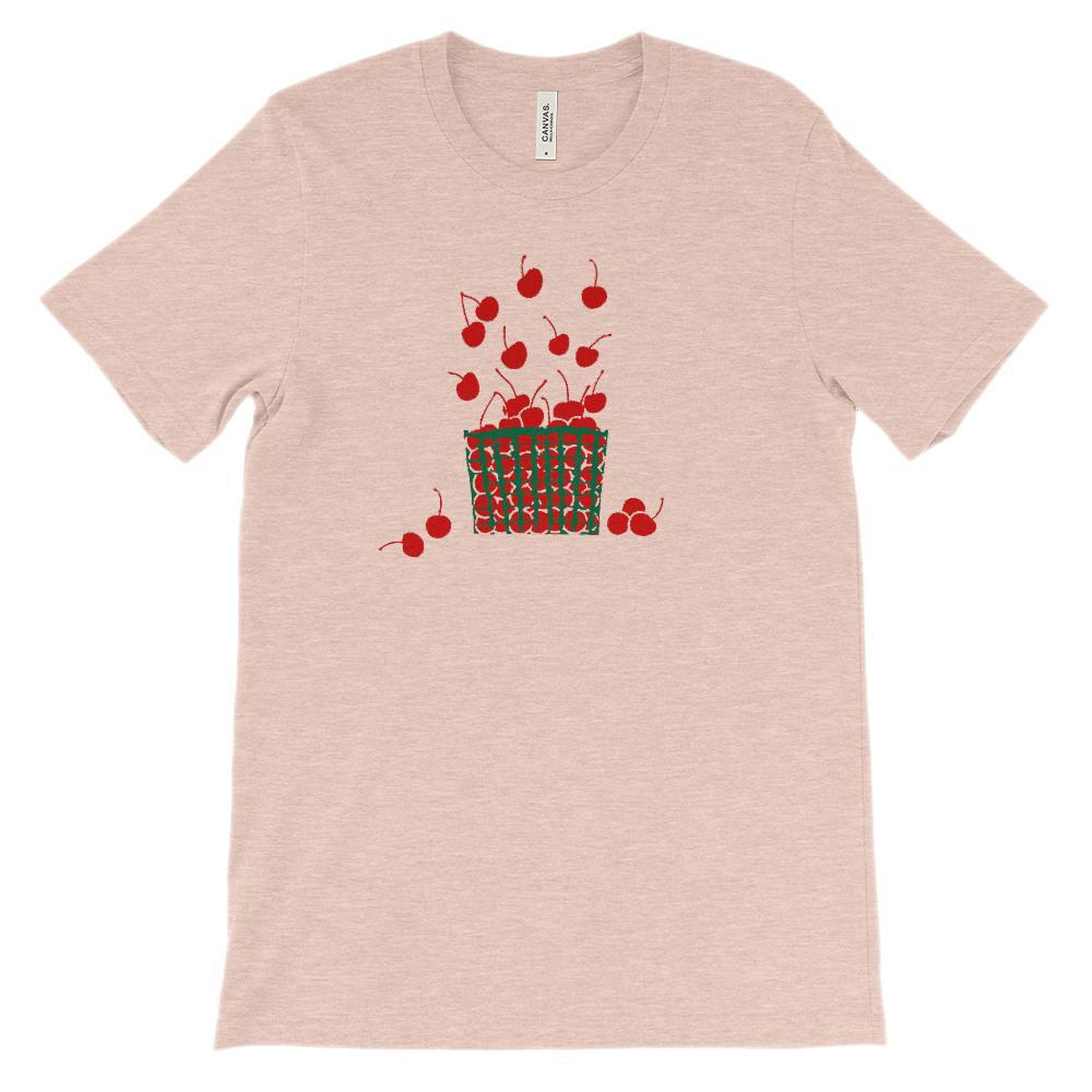 (Soft Unisex BC 3001) Cherries Basket Graphic T-Shirt Tee BOXELS
