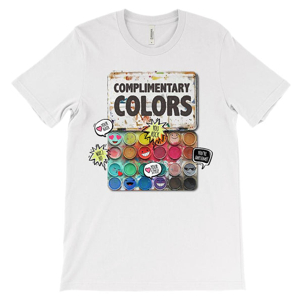 (Soft Unisex BC 3001) Complimentary Colors (complementary play on words) Graphic T-Shirt Tee BOXELS