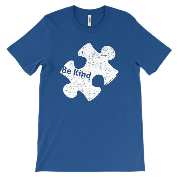 (Soft Unisex BC 3001) Custom Autism Awareness Puzzle Piece (Be Kind) Graphic T-Shirt Tee BOXELS