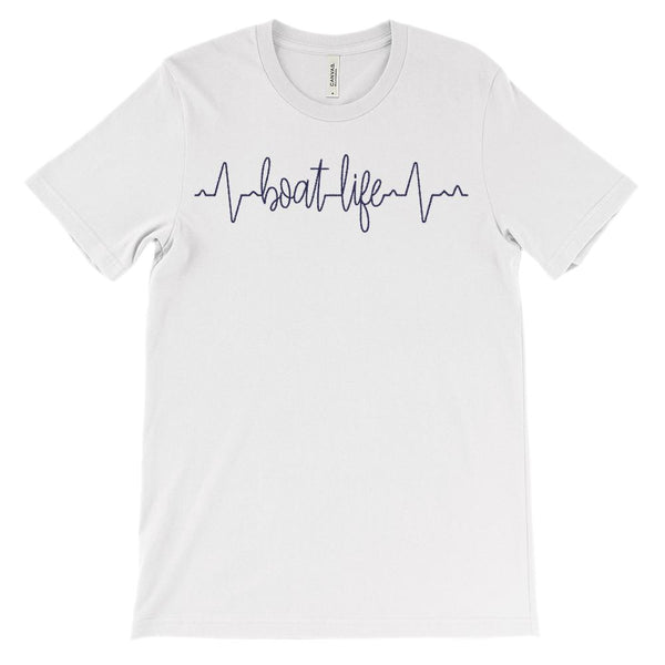 (Soft Unisex BC 3001) Custom Heartbeat Pulse (Boat Life Navy) Graphic T-Shirt Tee BOXELS