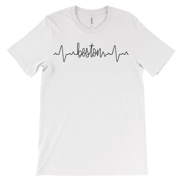 (Soft Unisex BC 3001) Custom Heartbeat Pulse (Boston Black) Graphic T-Shirt Tee BOXELS