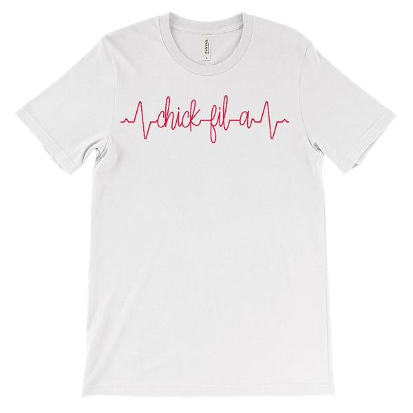 (Soft Unisex BC 3001) Custom Heartbeat Pulse (Chicken Restaurant Red) Graphic T-Shirt Tee BOXELS