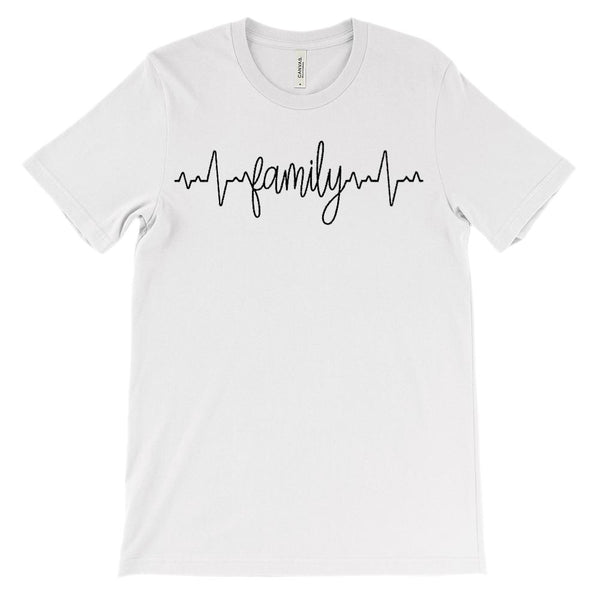 (Soft Unisex BC 3001) Custom Heartbeat Pulse (Family Black) Graphic T-Shirt Tee BOXELS
