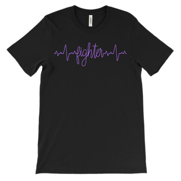 (Soft Unisex BC 3001) Custom Heartbeat Pulse (Fighter Bright Purple) Graphic T-Shirt Tee BOXELS