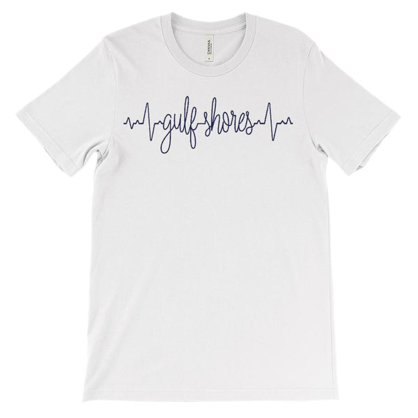 (Soft Unisex BC 3001) Custom Heartbeat Pulse (Gulf Shores Navy) Graphic T-Shirt Tee BOXELS