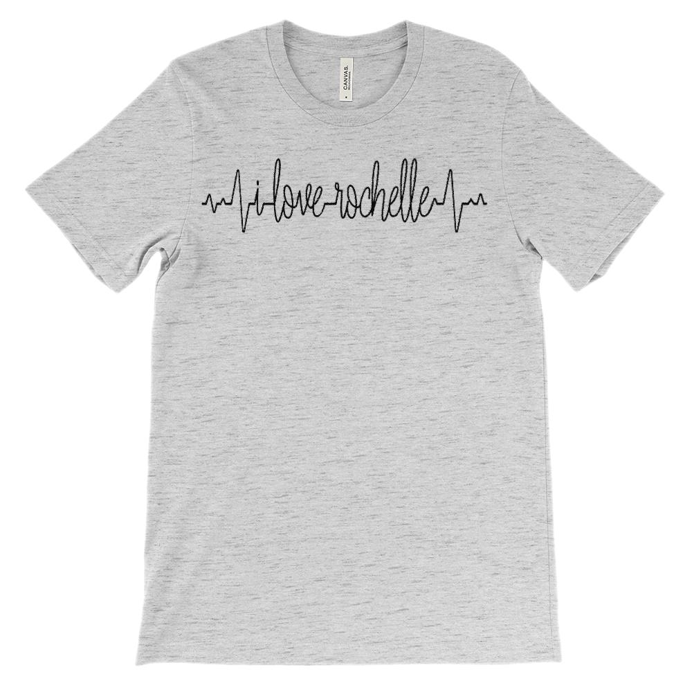 (Soft Unisex BC 3001) Custom Heartbeat Pulse (I Love Rochelle Black) Graphic T-Shirt Tee BOXELS