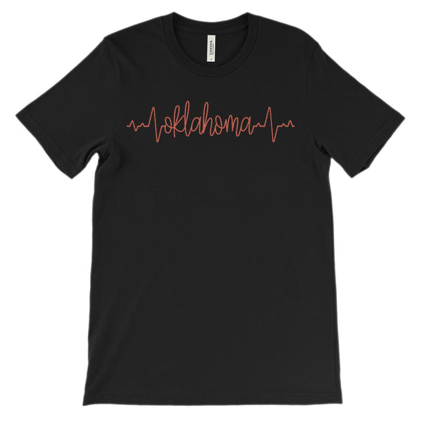 (Soft Unisex BC 3001) Custom Heartbeat Pulse (Oklahoma Red) Graphic T-Shirt Tee BOXELS