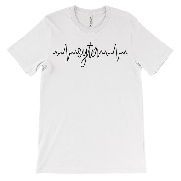 (Soft Unisex BC 3001) Custom Heartbeat Pulse (Oyter Black) Graphic T-Shirt Tee BOXELS