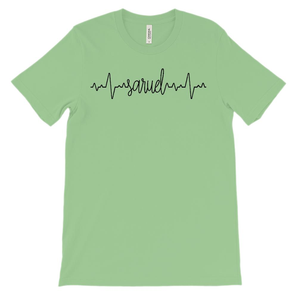 (Soft Unisex BC 3001) Custom Heartbeat Pulse (Saruel Black) Graphic T-Shirt Tee BOXELS