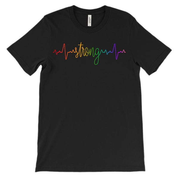 (Soft Unisex BC 3001) Custom Heartbeat Pulse (Stronger Rainbow) Graphic T-Shirt Tee BOXELS