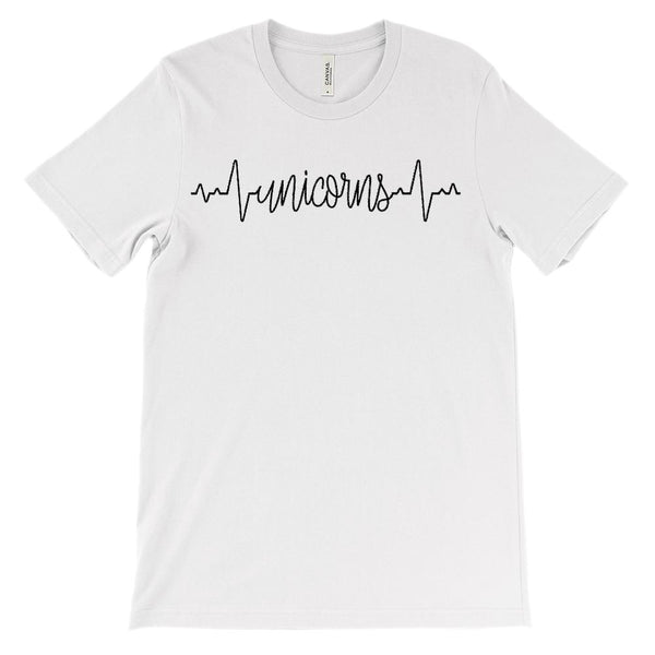 (Soft Unisex BC 3001) Custom Heartbeat Pulse (Unicorns Black) Graphic T-Shirt Tee BOXELS