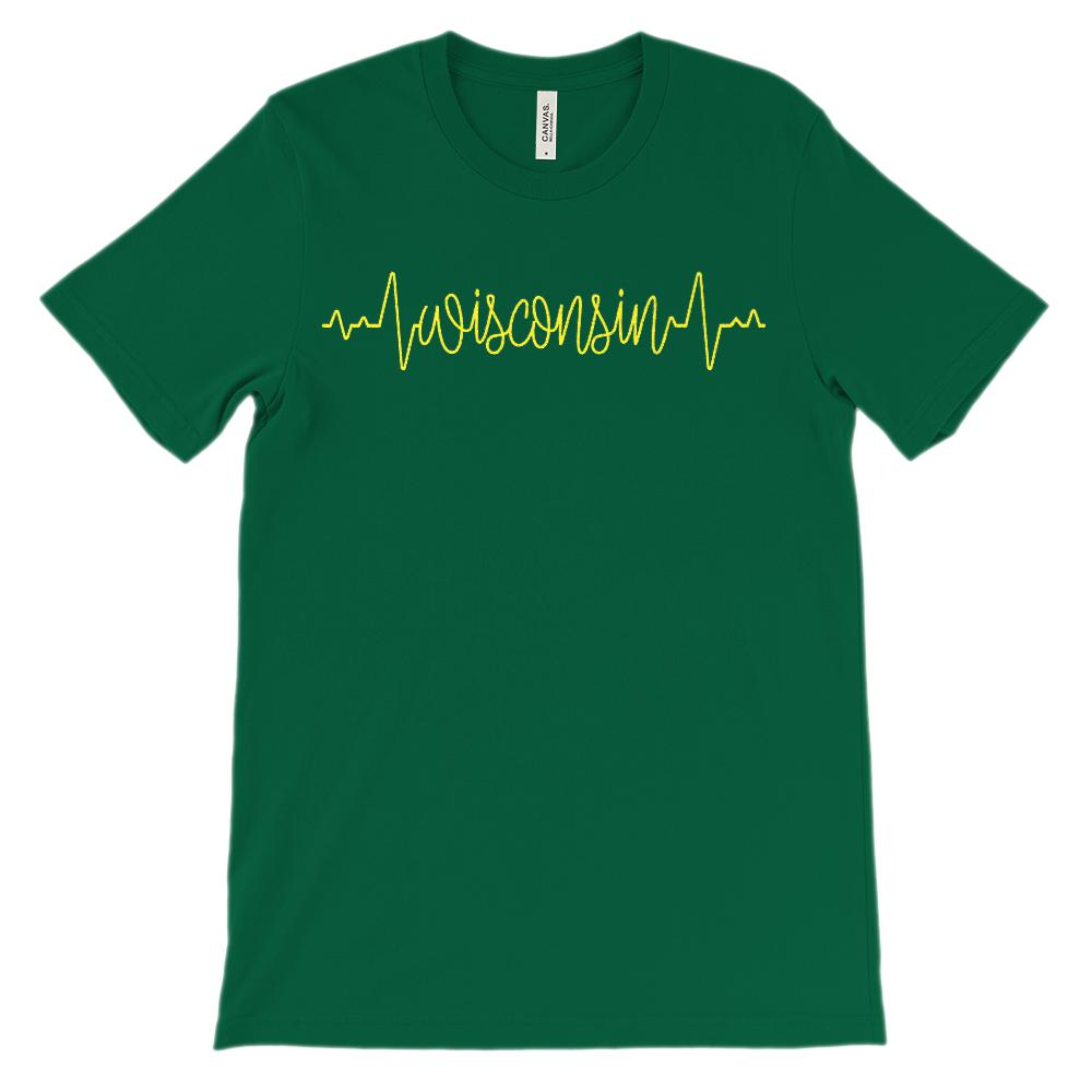 (Soft Unisex BC 3001) Custom Heartbeat Pulse (Wisconsin WI Yellow) Graphic T-Shirt Tee BOXELS