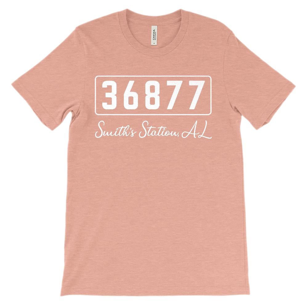 (Soft Unisex BC 3001) Custom Zipcode (36877, Smiths Station, AL) White Graphic T-Shirt Tee BOXELS
