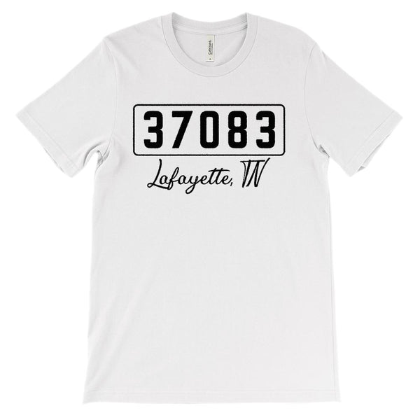(Soft Unisex BC 3001) Custom Zipcode (37083, Lafayette, TN) Graphic T-Shirt Tee BOXELS