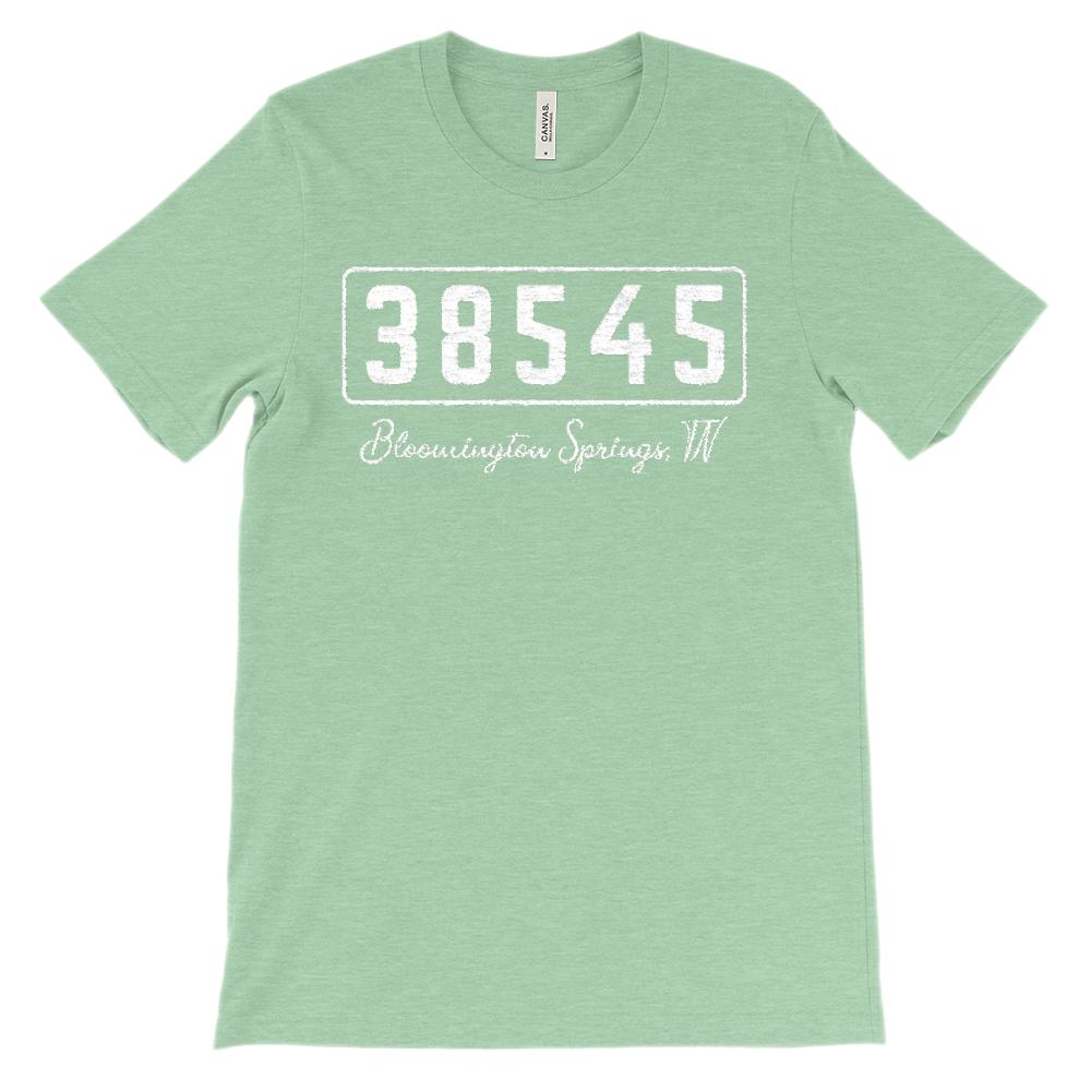 (Soft Unisex BC 3001) Custom Zipcode (38545, Bloomington springs, TN) Graphic T-Shirt Tee BOXELS