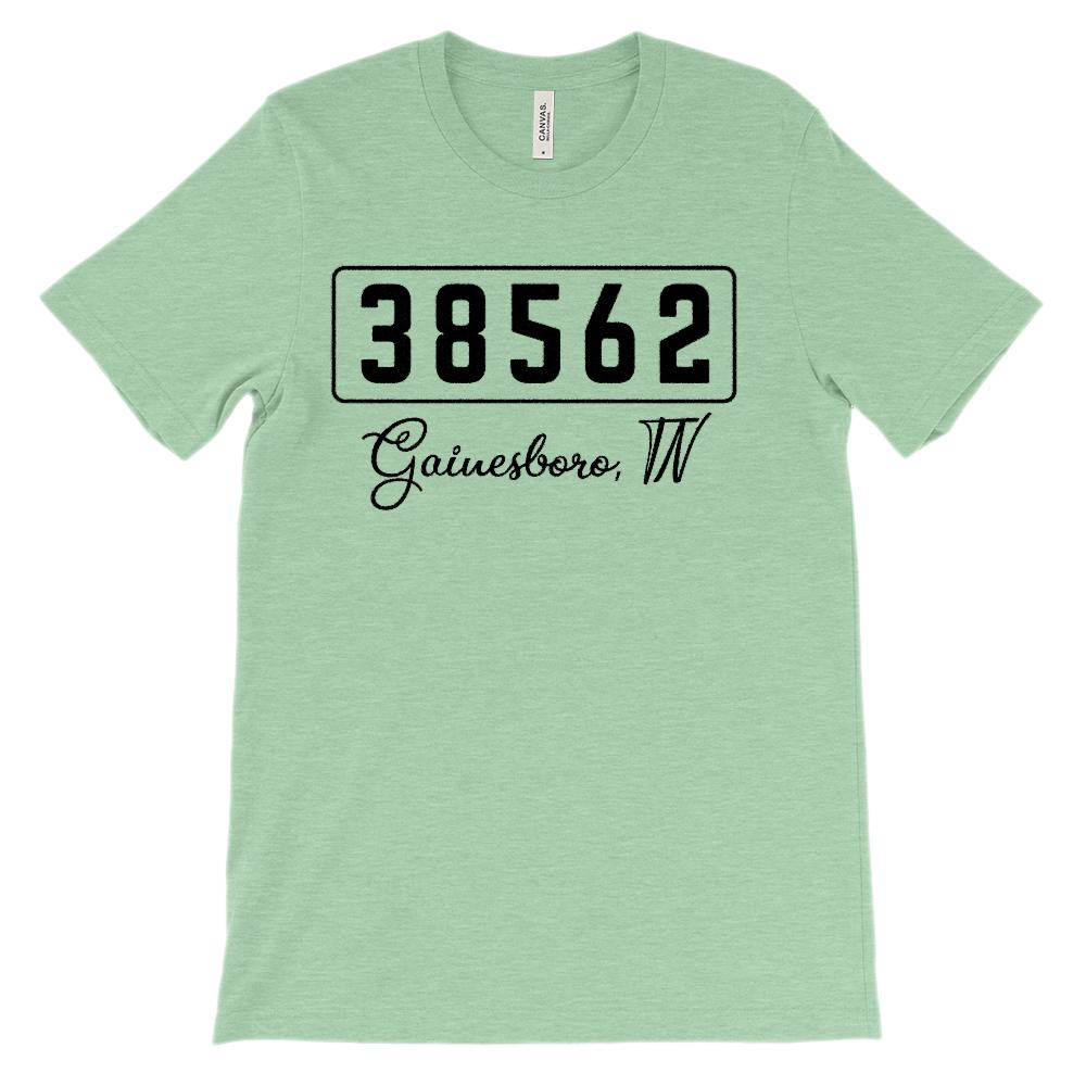 (Soft Unisex BC 3001) Custom Zipcode (38562, Gainesboro, TN) Graphic T-Shirt Tee BOXELS
