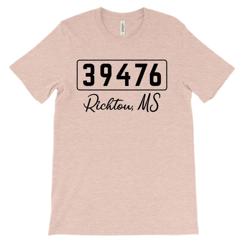 (Soft Unisex BC 3001) Custom Zipcode (39476, Richton, MS) Graphic T-Shirt Tee BOXELS