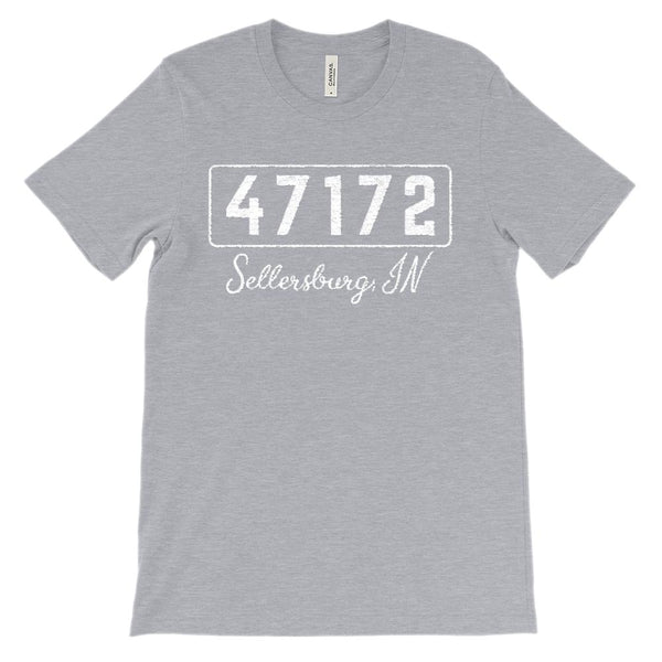 (Soft Unisex BC 3001) Custom Zipcode (47172, Sellersburg, IN) Graphic T-Shirt Tee BOXELS