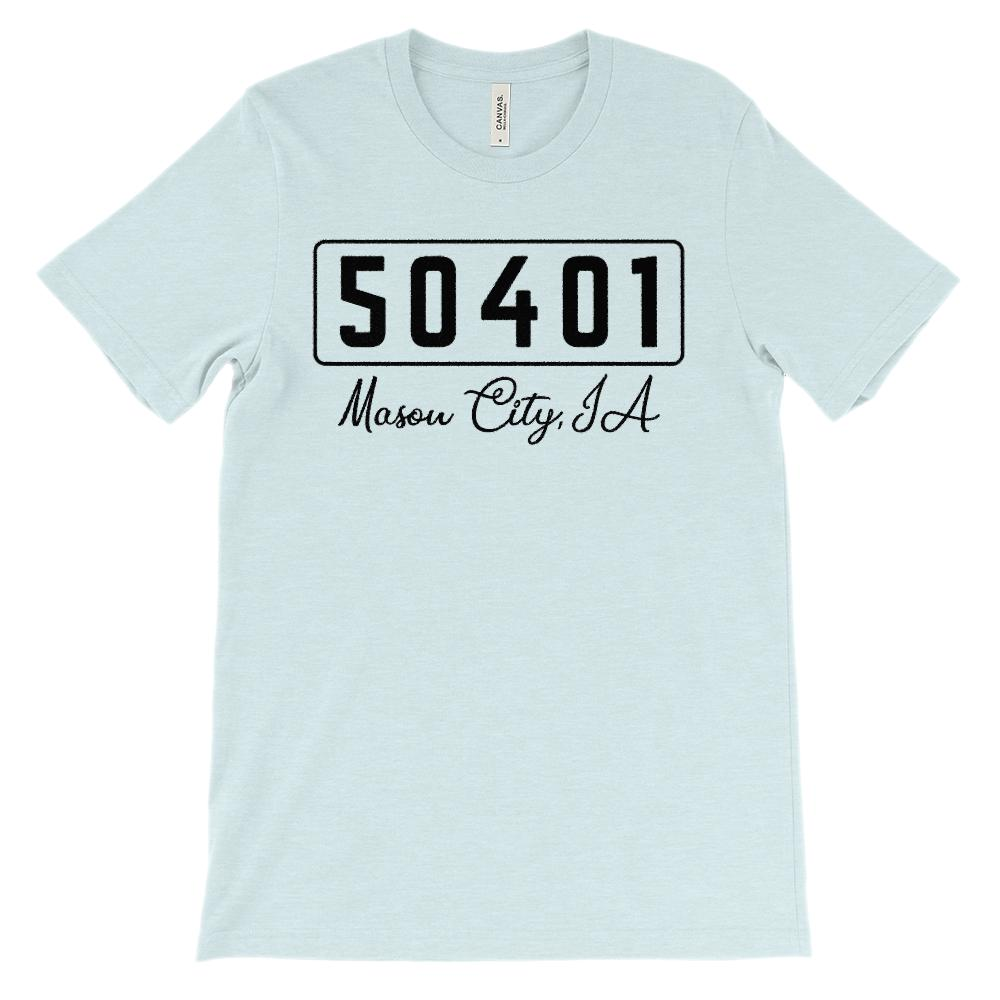 (Soft Unisex BC 3001) Custom Zipcode (50401, Mason City, IA) Graphic T-Shirt Tee BOXELS