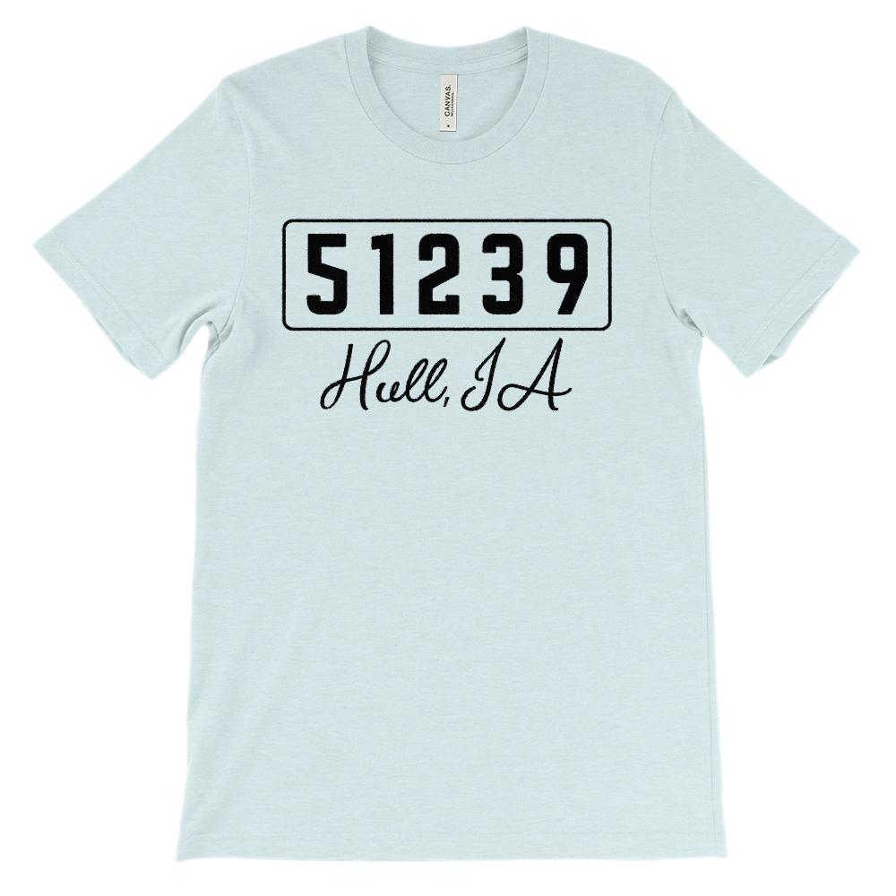 (Soft Unisex BC 3001) Custom Zipcode (51239, Hull, IA) Graphic T-Shirt Tee BOXELS